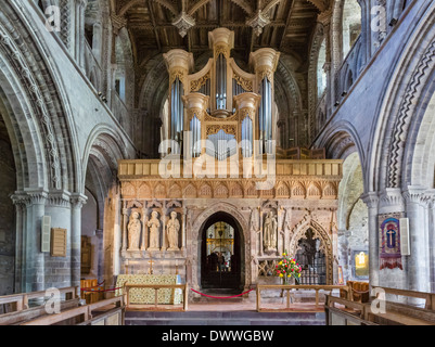 The organ in St David's Cathedral, St David's, Pembrokeshire, Wales, UK - Stock Photo