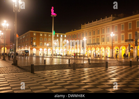 Night time at Place Masenna in Nice, Cote D'Azur, France - Stock Photo