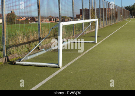 Five-a-side football goal posts on the artificial sports pitch at Harper Green Playing Fields, Farnworth, Bolon, - Stock Photo