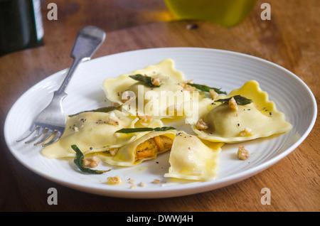 Pumpkin ravioli - Stock Photo