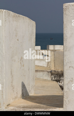 Cape Coast Castle with view of Atlantic Ocean in Cape Coast, Ghana - Stock Photo