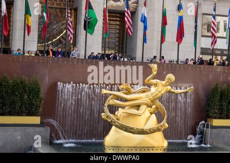 Prometheus Statue at Rockefeller Center in New York City - Stock Photo