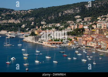 The resort of Villefranche-sur-Mer near Nice on the Cote d'Azur in the South of France. - Stock Photo