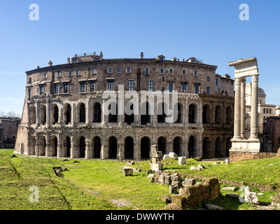 The ancient Theatre of Marcellus (13 BC) in Rome was begun by Julius Caesar, but finished by Augustus - Stock Photo
