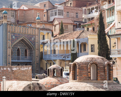 Abanotubani (sulphur baths) and the architecture of the Old Town in Tbilisi, Georgia. - Stock Photo