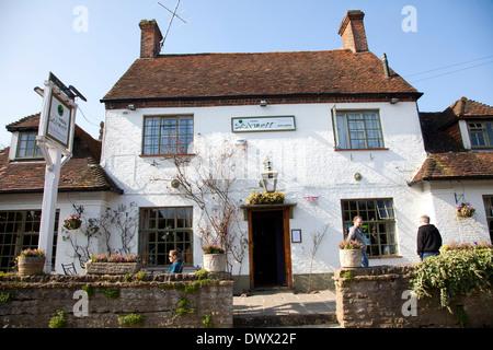 The Frog Pub and Restaurant in Skirmett in Buckinghamshire - UK - Stock Photo