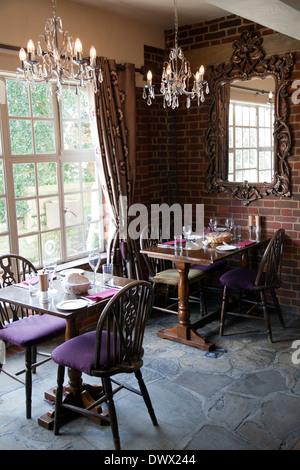 The Frog Pub and Restaurant Tables in Skirmett in Buckinghamshire - UK - Stock Photo