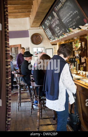 Locals Drinking at The Frog Free House and Restaurant Bar in Skirmett - Buckinghamshire - UK - Stock Photo
