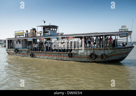 India, West Bengal, Kolkata, ferry on Hooghly River - Stock Photo