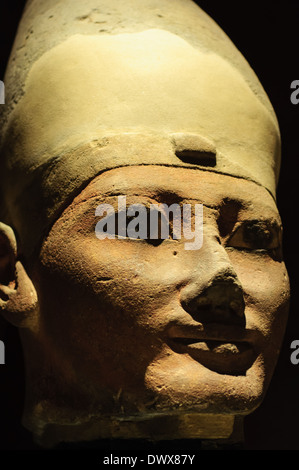 Head of ancient egyptian statue in the Museum of Egypt, Turin, Italy - Stock Photo