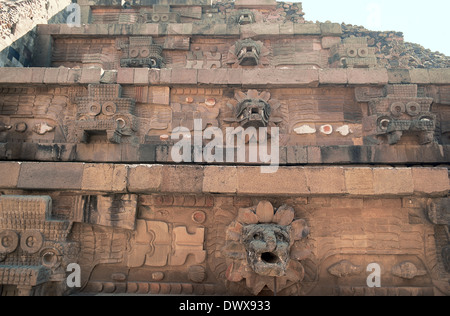 Pre-Columbian Art. Teotihuacan. Mexico. The Temple of the Feathered Serpent. Tlaloc (left) and feathered serpent - Stock Photo