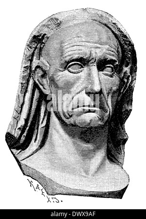 Gaius Julius Caesar (13 July 100 BC - March 15, 44 BC), Roman statesman, general and author, adoptive father of - Stock Photo