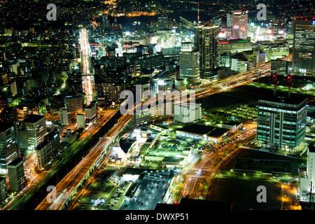 Yokohama at night, Kanagawa, Japan - Stock Photo
