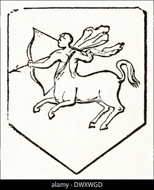Coat of Arms of Stephen 12th Century King of England. Victorian woodcut circa 1845 - Stock Photo