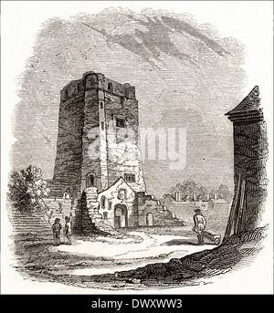 Ruins of Oxford Castle, Oxford, Oxfordshire, England, UK. Victorian woodcut circa 1845 - Stock Photo