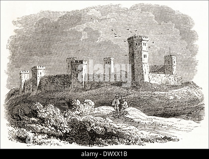 Oxford Castle in the 15th Century, Oxford, Oxfordshire, England, UK. Victorian woodcut circa 1845 - Stock Photo