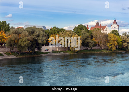 Ingolstadt skyline on Danube river - Stock Photo