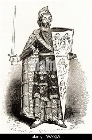 Geoffrey Plantagenet, Count of Anjou. Victorian woodcut circa 1845 - Stock Photo