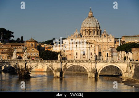 italy, rome, tiber river, ponte sant'angelo and st peter's basilica - Stock Photo