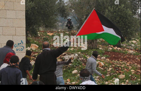 Nablus, West Bank, Palestinian Territory. 14th March 2014. A Palestinian holds a national flag during a protest - Stock Photo