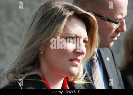 Berlin, Germany. 14th Mar, 2014. Czech Republic's Prime Minister Bohuslav Sobotka (right) and his wife Olga Sobotkova - Stock Photo