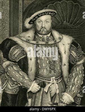 Antique circa 1880 engraving, King Henry VIII of England. - Stock Photo