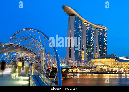 Night image of the new Marina Bay Sands Hotel and Casino in Singapore. - Stock Photo