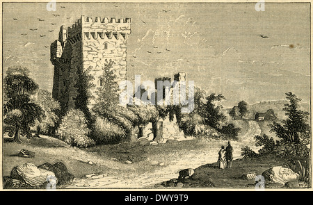 1854 engraving, Ruins of the main castle keep and tower of Blarney Castle near Cork, Ireland. - Stock Photo