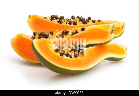 papaya sliced isolated on white - Stock Photo