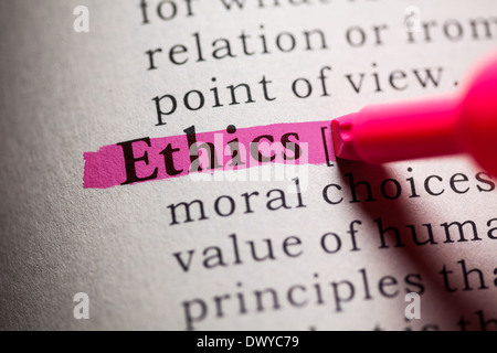 Fake Dictionary, definition of the word Ethics. - Stock Photo