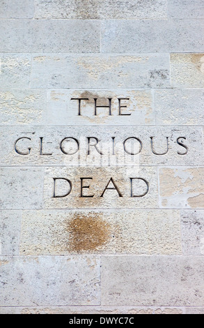 The Glorious Dead Inscription on the Cenotaph War Memorial in London. - Stock Photo