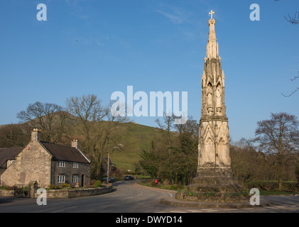 the cross at ilam a popular tourist destination in the peak district national park - Stock Photo
