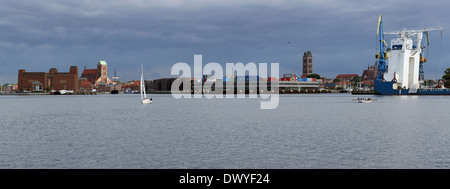 Wismar, Germany, view over the old town and harbor - Stock Photo
