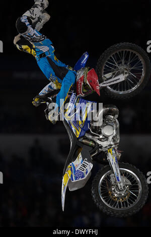 Mexico City, Mexico. 14th Mar, 2014. A freestyle motocross rider competes during the Red Bull X-Fighters at the - Stock Photo