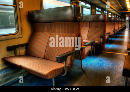 February 2014, empty train in Switzerland, HDR-technique - Stock Photo