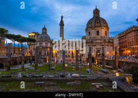Imperial Forum, Traian Column and Santa Maria di Loreto Church in Rome, Italy - Stock Photo