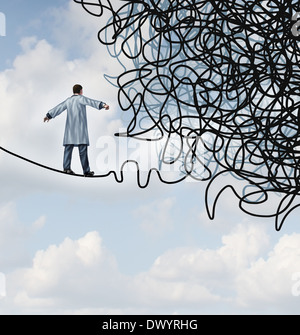 Doctor Stress medical concept as a physician in a lab coat walking on a tightrope that becomes tangled and confused - Stock Photo