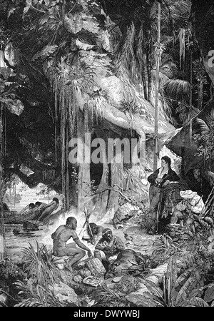 Humboldt and Bonpland by the Orinoco River during the expedition in 1799-1800 to Venezuela - Stock Photo