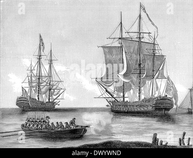 Historical illustration, Different types of English warships, early 19th Century, - Stock Photo