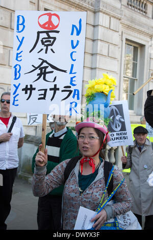 London, UK.  15 March 2014. Protest to remember the Fukushima Daiichi nuclear disaster. Japanese and British protesters - Stock Photo