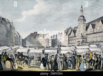 Messe Leipzig, trade fair in Leipzig, Leipzig, Saxony, Germany, Europe, 19th century - Stock Photo