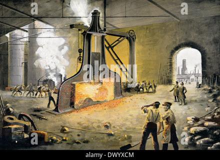 James Nasmyth's patent steam hammer, 1843, James Hall Nasmyth, a Scottish engineer and inventor, - Stock Photo