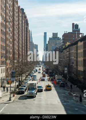 View looking east on West 23rd Street, as seen from the High Line, New York's elevated park created on a disused - Stock Photo