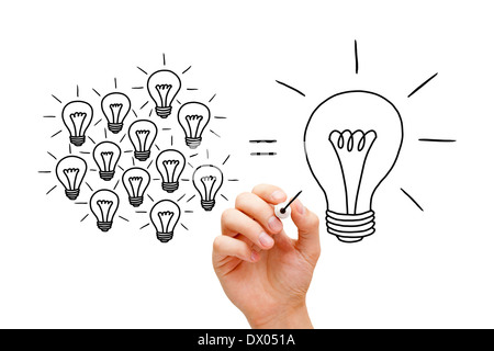 Hand sketching Teamwork light bulbs concept with black marker. Many small ideas equal a big one. - Stock Photo