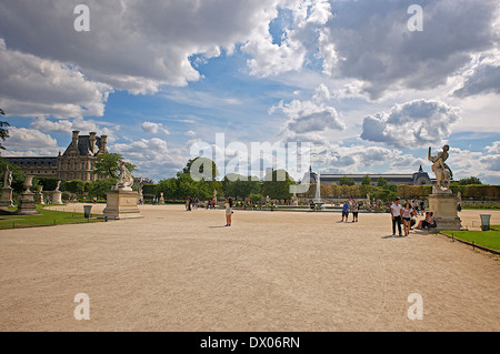 Tuileries garden in Paris, France - Stock Photo