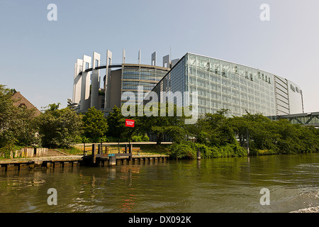 European Parliament building in Strasbourg, France - Stock Photo
