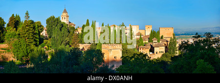 Panoramic view of the Moorish Islmaic Alhambra Palace comples and fortifications. Granada, Andalusia, Spain. - Stock Photo