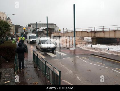 High Tide, Raging Sea Threatens the Railway line at Dawlish. - Stock Photo