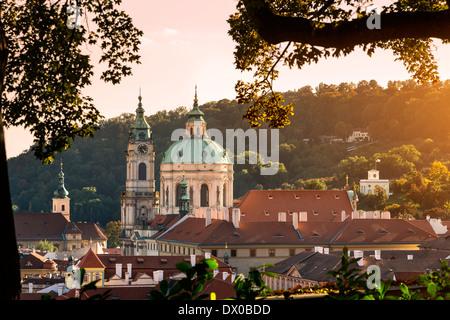 Dome and Bell Tower of Saint Nicholas' Church, Prague, Czech Republic. - Stock Photo
