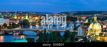 Over of Vitava river and Charles bridge and bridges of Prague. - Stock Photo